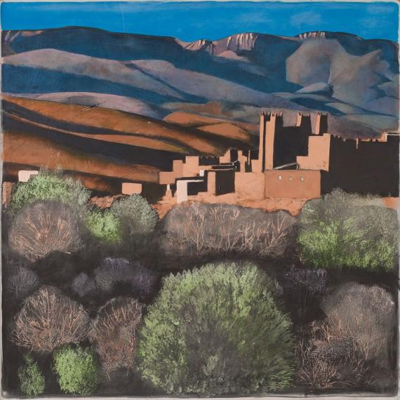 Desert Landscape with Kasbah