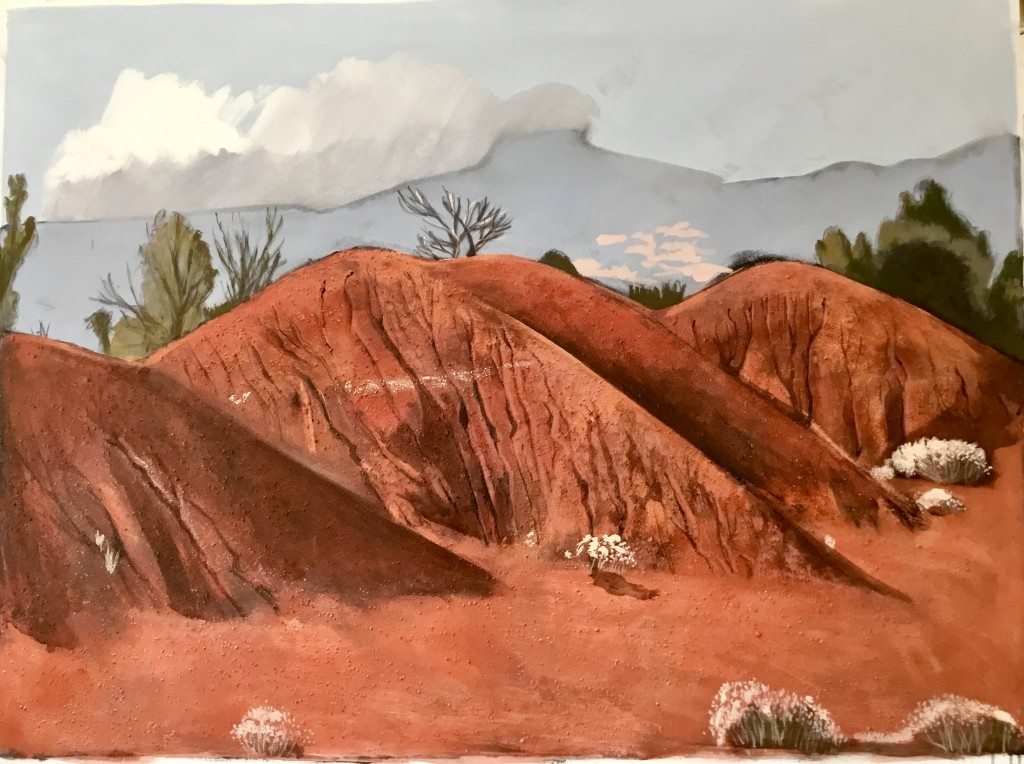 Red Hills with Mesa 2018 110x130 cm mixed media on canvas